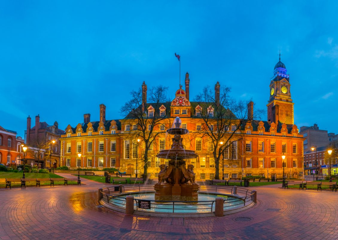 Sunset view of town hall in Leicester, England